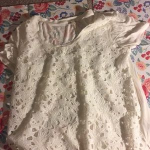 Lace flower shirt White